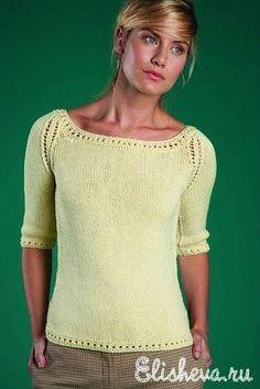 Пуловер лимонного цвета вязаный спицами FREE