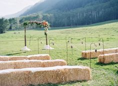 decorating with hay bales for outdoor wedding | Hay bale Heaven: Creative Seating on a Budget . . .
