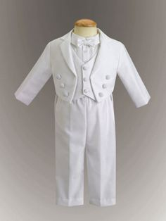 Boys Baptism Outfit - Cotton Tuxedo w/ Pique Vest Christening Outfit - (Jeffrey) Baby Boy Christening Suit, Baby Boy Baptism Outfit, Baby Boy Suit, Baby Boy Outfits, Baby Baptism, Boys Tuxedo, White Tuxedo, White Suits, Baby Boy Clothes Hipster