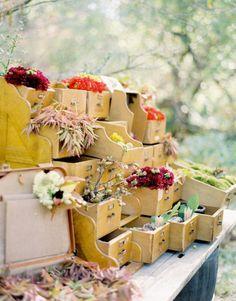 shelves turned into flower baskets.