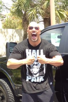 Day after Wrestlemania, I think The Rock is a little excited, what do you think. Gotta luv Florida's Sun, beautiful there.