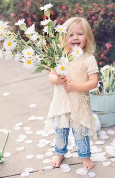 Daisies - Girls Shabby Chic Lace Top