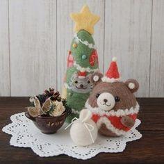 【Creema限定】クリスマスツリー&ころくまちゃんサンタのセット(グレーねこ)