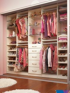 Closet with a lot of storage for kids room!