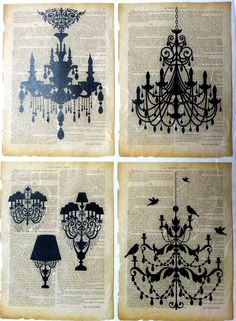 Rice Paper for Decoupage  Decopatch  Scrapbooking Sheet Craft Vintage Chandelier