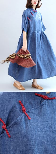 blue vintage linen Chinese Button o neck maxi dress