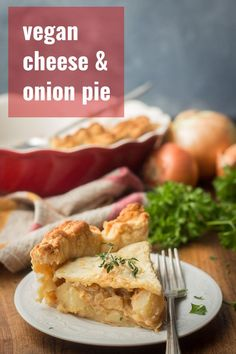 Cheesy (and totally dairy-free!) potato and onion filling is baked up between layers of flaky puff pastry crust to make this scrumptious vegan spin on classic cheese and onion pie!This savory pie is the perfect main dish for special dinners and holidays! #veganbaking #veganpie #dairyfree