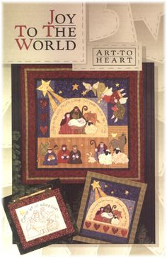 "By Nancy Halvorsen. These quilts celebrate the real reason for the season with easy piecing, fusible applique and simple embroidery. The ""Joy to the World"" quilt is square, ""Rejoice"" quilt x and stitchery is x Joy To The World, Vintage Quilts Patterns, Sewing Patterns, Beginner Quilt Patterns, Patch Aplique, Simple Embroidery, Embroidery Designs, Pintura Country, Book Quilt"
