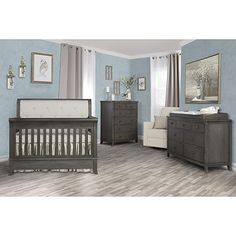 Evolur Signature Amsterdam Convertible Crib in Smokey Brushed Grey Baby Nursery Furniture Sets, Nursery Furniture Collections, Full Size Headboard, Wooden Bed Frames, Living Room Lounge, Crib Sets, Convertible Crib, Crib Mattress, Baby Bedroom
