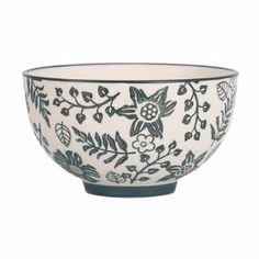 Bahne Monochrome Floral Print Ceramic Bowl: Monochrome floral print ceramic bowl by Bahne. Part of Bahne's monochrome floral tableware collection, this stylish handmade bowl is the perfect addition to any table setting.