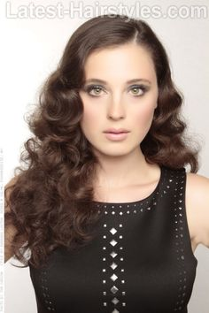 Hot Waves; Roller Set; Curls; Long Flowing Brunette Hair with Retro Glam Waves