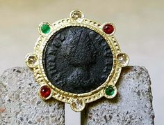 Old coin gold ring-crown ring-ancient times by CJbijoux on Etsy