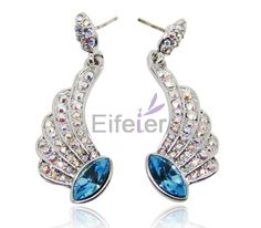 Classical palace style wing shape earrings with aiandicolite Swarovski element crystal and shiny small stones