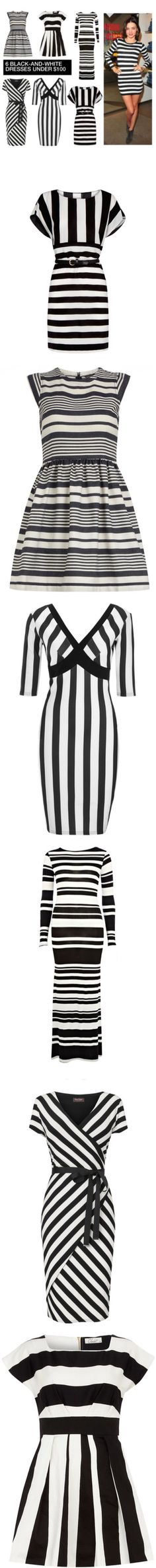 """""""6 Black-and-White Dresses Under $100"""" by polyvore-editorial ❤ liked on Polyvore"""