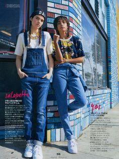 Dark Wash High-Waist Jeans in ELLE Girl, Japan. #AmericanApparel