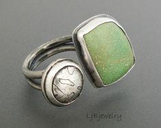 Anillo de plata anillo, Variscita, anillo de piedras preciosas, piedra verde, Variscita, plata esterlina, Metalsmith joyas, joyas de orfebrería, tamaño 9.75