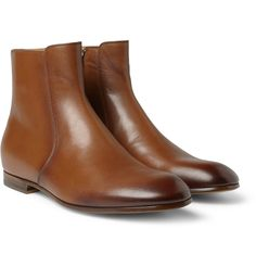 Try rolling your pant leg a couple times with these. GucciBurnished Leather Boots|MR PORTER