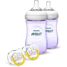 Philips Avent Natural Baby Bottle Purple Gift Set, BPA-Free
