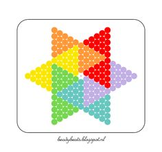Beady Beads - Star 2f. Perler / Hama / Fusion / Melty / Pyssla Beads. Free Pattern Card! Visit my blog for more free patterns.