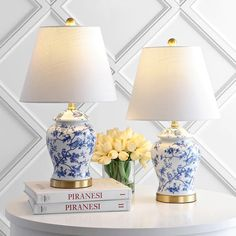 Shop Penelope Chinoiserie Table Lamp, Blue/White, Set of 2 - Overstock - 31270792 Ginger Jars, Table Lamp Sets, Led Table Lamp, Lamp, Blue And White, Chinoiserie, Lamp Sets, Blue And White Lamp, Ginger Jar Lamp