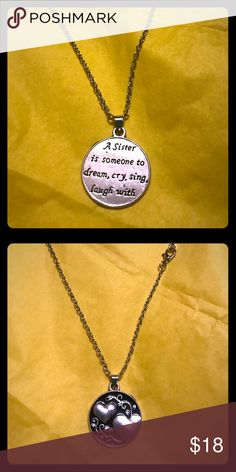 """🔥Sister, dream,cry,laugh,sing, 925SP necklace,🔥 Very pretty 925 silver plated chain with a sister pendant,""""A Sister is someone to dream, cry, sing, laugh with"""" and two hearts on the opposite side, very nice substantially made 🚬🐱🏡💖accepting reasonable offers💖🔥included in my buy 1 get 1 free sale🔥 sister/alloy/silver925 Jewelry Necklaces"""