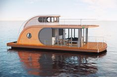 Nautilus Houseboats is all you need when you want to have a peace and quiet experience on the water in your home. Nautilus offers not only a Europe's water Nautilus, Floating Architecture, Houseboat Living, Floating House, Tiny House Movement, Pontoon Boat, Pontoon Houseboat, Boat Design, Boat Building