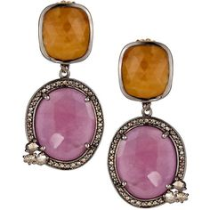 Bavna Multi-Colored Sapphire Drop Earrings