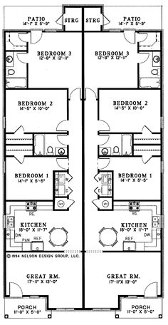 Bordeau ranch duplex home home house plans and floors for Cost to build a duplex house