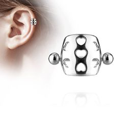 Spikes Silver helix piercing with hearts on shield Piercing Cartilage, Piercings, Circular Barbell, Labret Studs, Hollow Heart, Silver Nose Ring, Steel Material, 316l Stainless Steel, Piercing