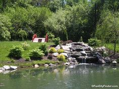 Picture of the Japanese Style Garden foot bridge pond and fountain in Carmel, Indiana