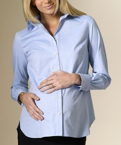 Light Blue Classic Maternity Button-Up Shirt, looks great for post natal too