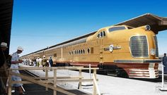 """A futuristic """"City of San Francisco"""" was a luxury Union Pacific passenger consist pulled by this M-10004 powerful diesel locomotive B-B+B-B combination and first began service May of 1936"""