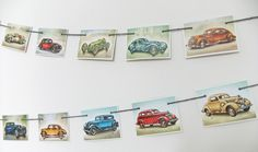 Vintage Cars Bunting - Recycled Bunting  - Paper Bunting #folksy #peonyandthistle