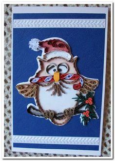 Quilling by Raisa Krapp  quilling-krapp.de  Weihnachtskarte mit Eule / Новогодняя открытка