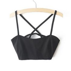 $14.80 Sexy Spaghetti Strap Solid Color Criss-Cross Hollow Out Crop Top For Women