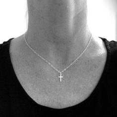 silver cross necklace. TINY cross necklace. by limegreenmodern