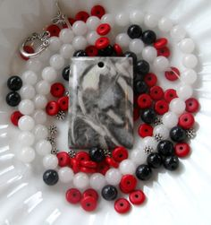 Jasper Rectangle Pendant Jade Magnesite by CatsBeadKitsandMore, $18.99