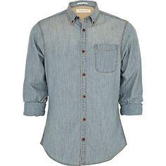 River Island - blue light wash denim shirt
