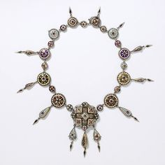 Necklace   Designer ?.  Ca 1870 Bourg-en-Bresse, France.  Silver gilt with enamels and coloured pastes.