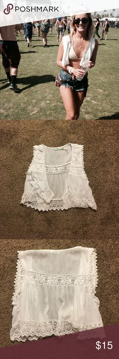 Kimichi Blue White Lace Vest Size Small worn once no stains! Urban Outfitters Jackets & Coats Vests