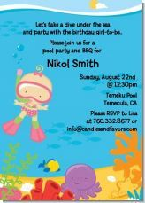 Swimming baby girls birthday party invitation. Cute idea for a summer party, pool party, or beach themed party!