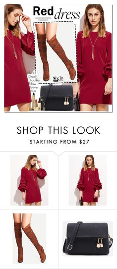 """Red Dress"" by oshint ❤ liked on Polyvore featuring Yves Saint Laurent"