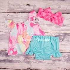 Pineapple Princess Flutter Top and Diaper Cover Set-