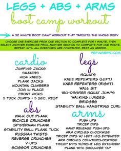 Legs + Abs + Arms Boot Camp Workout I am super psyched to share this workout with you guys this morning! Last night I took some time to plan out a boot camp class that I'm subbing today and came up with this workout that I'm pretty sure is going Entraînement Boot Camp, Boot Camp Workout, House Workout, Zumba, Circuit Training, Strength Training Program, Race Training, Group Fitness, Fitness Bootcamp