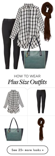 """plus size bertie"" by aleger-1 on Polyvore featuring Simply Vera, Melissa McCarthy Seven7, FOSSIL and plus size clothing"