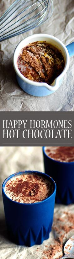 Happy Hormones Hot Chocolate! A rich, creamy, and healthy treat! The perfect drink for the cooler evenings. A super easy way to get more hormone-balancing maca into your diet. Vegan, Paleo, gluten free, refined sugar free.