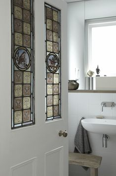 Scandi meets Victorian in this Dublin home A stained glass bathroom door gives this Victorian period Stained Glass Door, Glass Panel Door, Glass Panels, Glass Doors, Victorian Internal Doors, Dublin, Glass Bathroom Door, Bathroom Art, Modern Bathroom