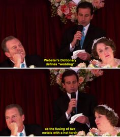 """When Michael gave a toast at Phyllis's wedding: 67 Underrated Jokes From """"The Office"""" Guaranteed To Make You Laugh The Office Wedding, The Office Characters, Cartoon Characters, The Office Show, The Office Ryan, Office Jokes, Funny Office, Nbc 10, Michael Scott Quotes"""