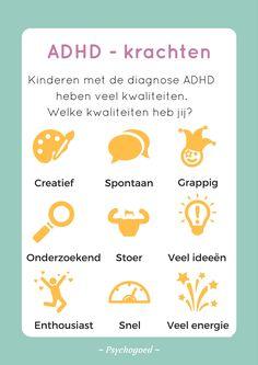 Kinderen met de diagnose ADHD hebben veel kwaliteiten! Welke herken jij? #kinderen #ADHD #kwaliteiten #krachten #diagnose School Tool, School Hacks, Coaching, Social Work, Social Skills, Something To Remember, Add Adhd, Yoga For Kids, Dyslexia