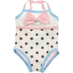 Monnalisa NY&LON Baby Girls White Pink Swimming Costume With Lola... ($44) ❤ liked on Polyvore featuring baby